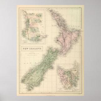 Mapa del vintage de Nueva Zelanda (1854) Poster