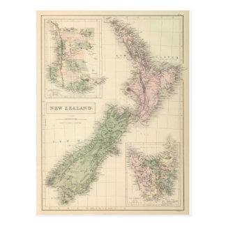 Mapa del vintage de Nueva Zelanda (1854) Postal