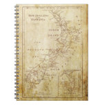 Mapa del vintage de Nueva Zelanda c1879 Note Book