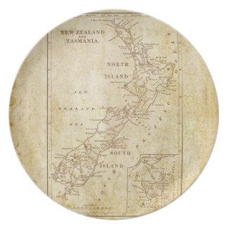 Mapa del vintage de Nueva Zelanda c1879 Platos De Comidas
