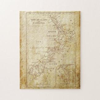 Mapa del vintage de Nueva Zelanda c1879 Puzzle