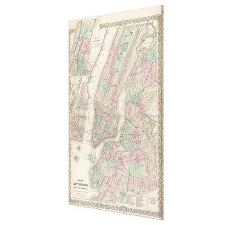 Mapa del vintage de NYC y de Brooklyn (1865) Impresión En Lona