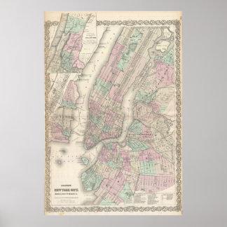 Mapa del vintage de NYC y de Brooklyn (1865) Póster