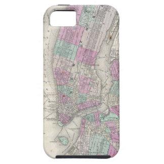 Mapa del vintage de NYC y de Brooklyn (1866) Funda Para iPhone SE/5/5s