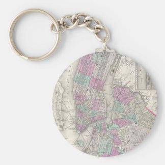 Mapa del vintage de NYC y de Brooklyn (1866) Llavero Redondo Tipo Pin