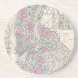 Mapa del vintage de NYC y de Brooklyn (1866) Posavasos Manualidades