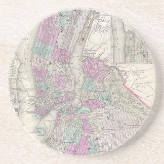 Mapa del vintage de NYC y de Brooklyn (1866) Posavasos Personalizados