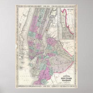 Mapa del vintage de NYC y de Brooklyn (1866) Póster