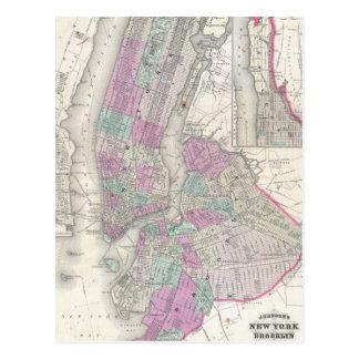 Mapa del vintage de NYC y de Brooklyn (1866) Tarjetas Postales