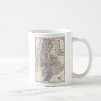 Mapa del vintage de NYC y de Brooklyn 1866 Tazas