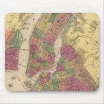 Mapa del vintage de NYC y de Brooklyn (1868) Alfombrillas De Raton