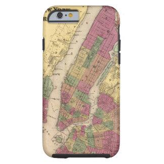 Mapa del vintage de NYC y de Brooklyn (1868) Funda Para iPhone 6 Tough