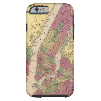 Mapa del vintage de NYC y de Brooklyn (1868) Funda Resistente iPhone 6