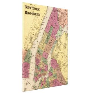 Mapa del vintage de NYC y de Brooklyn (1868) Impresión En Lienzo Estirada