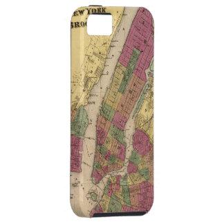 Mapa del vintage de NYC y de Brooklyn (1868) iPhone 5 Funda