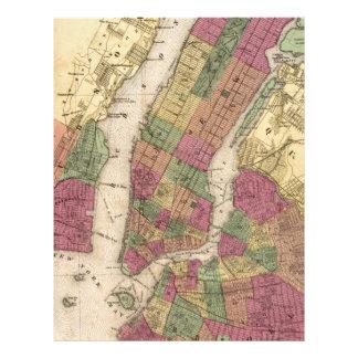 Mapa del vintage de NYC y de Brooklyn (1868) Membrete Personalizado