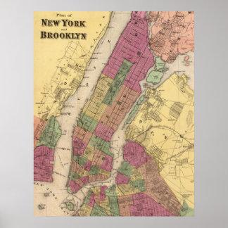 Mapa del vintage de NYC y de Brooklyn (1868) Póster