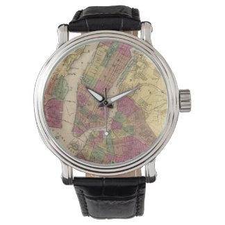 Mapa del vintage de NYC y de Brooklyn (1868) Relojes