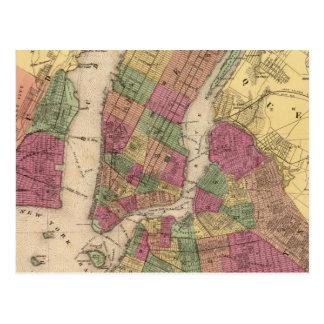 Mapa del vintage de NYC y de Brooklyn (1868) Postales