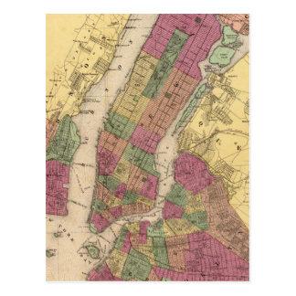 Mapa del vintage de NYC y de Brooklyn (1868) Tarjetas Postales