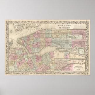 Mapa del vintage de NYC y de Brooklyn (1882) Póster
