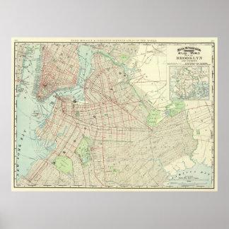 Mapa del vintage de NYC y de Brooklyn (1897) Póster