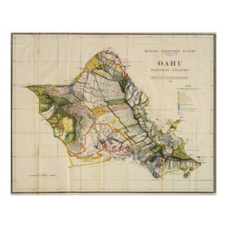 Mapa del vintage de Oahu Hawaii 1906 Impresiones