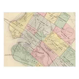 Mapa del vintage de Oakland California (1878) Postal
