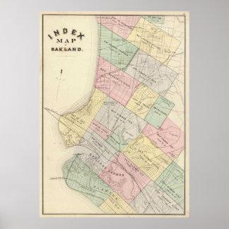 Mapa del vintage de Oakland California (1878) Póster