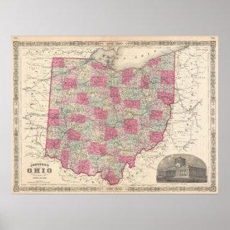 Mapa del vintage de Ohio (1864) Póster
