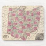 Mapa del vintage de Ohio (1864) Tapetes De Raton