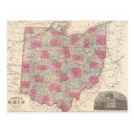 Mapa del vintage de Ohio (1864) Tarjeta Postal
