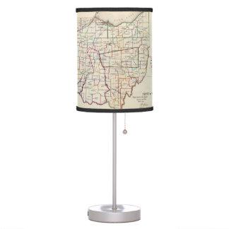 Mapa del vintage de Ohio (1866) Lámpara De Mesa