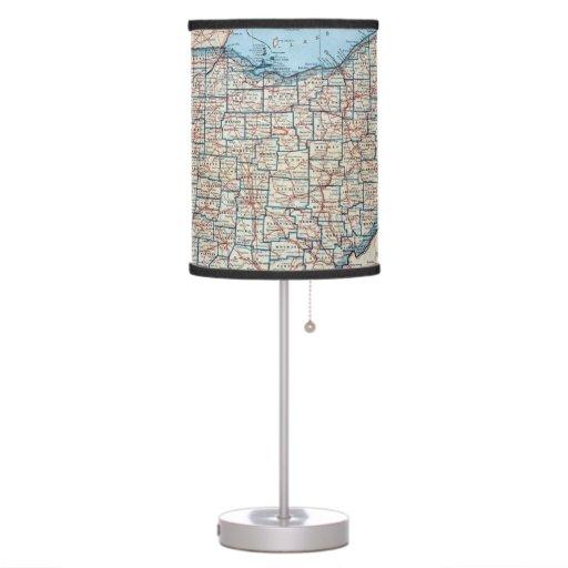 Mapa del vintage de Ohio (1921) Lámpara De Mesa