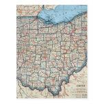 Mapa del vintage de Ohio (1921) Postal