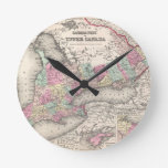 Mapa del vintage de Ontario (1857) Reloj Redondo Mediano