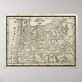 Mapa del vintage de Oregon Póster
