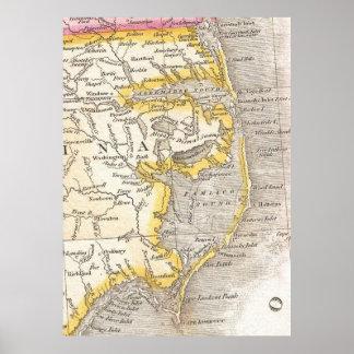 Mapa del vintage de Outer Banks (1818) Póster