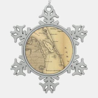 Mapa del vintage de Outer Banks (1862) Adorno De Peltre En Forma De Copo De Nieve
