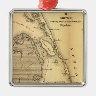 Mapa del vintage de Outer Banks (1862) Adorno Navideño Cuadrado De Metal