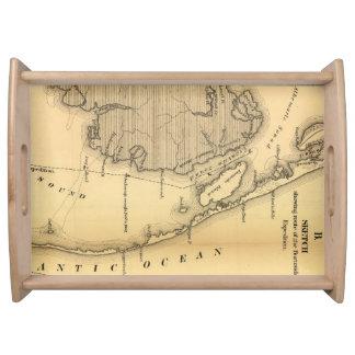Mapa del vintage de Outer Banks (1862) Bandejas