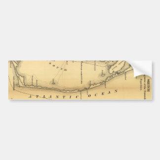 Mapa del vintage de Outer Banks 1862 Pegatina De Parachoque