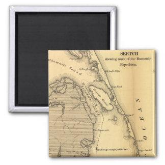 Mapa del vintage de Outer Banks (1862) Imán Cuadrado
