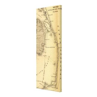 Mapa del vintage de Outer Banks (1862) Lona Estirada Galerias