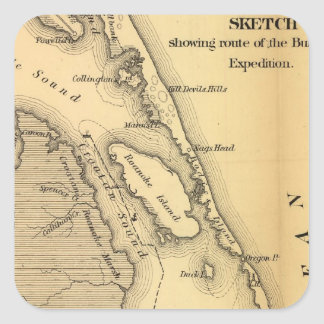 Mapa del vintage de Outer Banks (1862) Pegatina Cuadrada