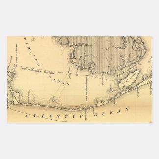 Mapa del vintage de Outer Banks (1862) Pegatina Rectangular