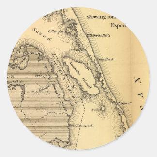 Mapa del vintage de Outer Banks (1862) Pegatina Redonda