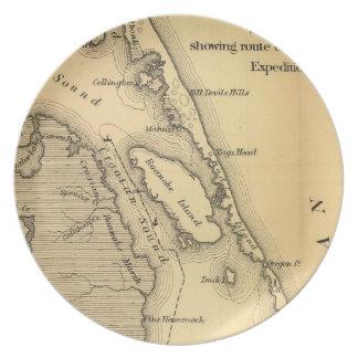Mapa del vintage de Outer Banks (1862) Plato Para Fiesta