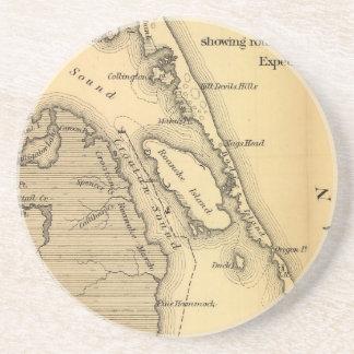 Mapa del vintage de Outer Banks (1862) Posavasos Diseño