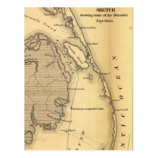 Mapa del vintage de Outer Banks (1862) Postales